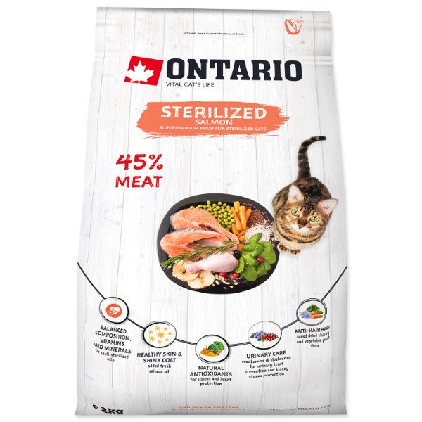 Ontario Cat Sterilised - losos 2 kg