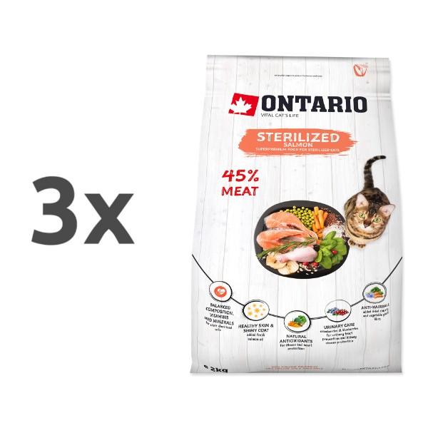 Ontario Cat Sterilised - losos 3 x 2 kg