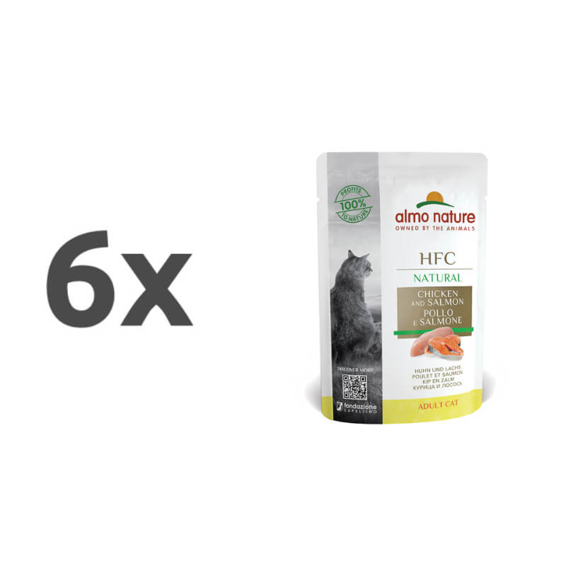 Almo Nature Classic – piščanec in losos 6 x 55 g