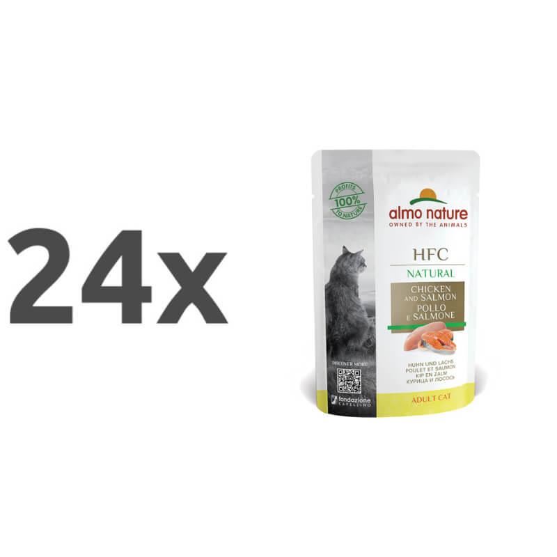 Almo Nature Classic – piščanec in losos 24 x 55 g