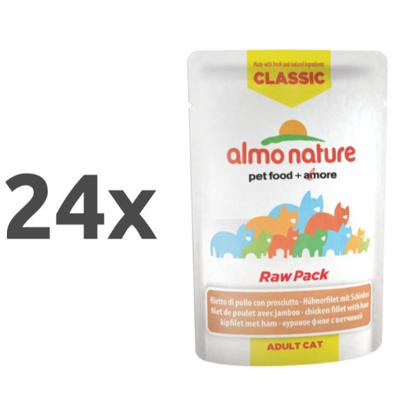 Almo Nature HFC Raw Pack - piščančji file in šunka 24 x 55 g