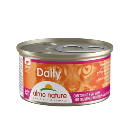 Almo Nature Daily Mousse konzerva - tuna in losos - 85 g