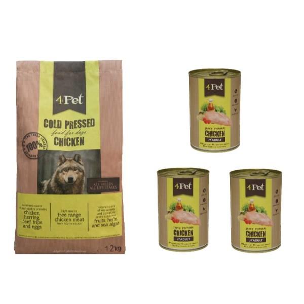 4Pet hladno stiskana hrana - piščanec 12kg + 3x400g