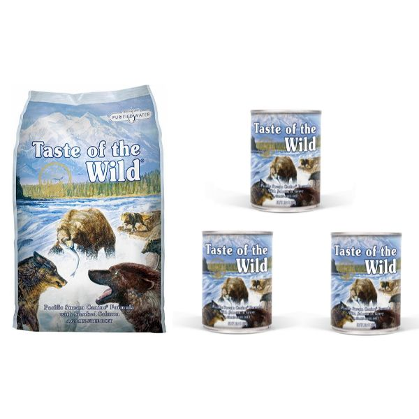 Taste Of The Wild Pacific Stream – prekajeni losos 13kg + 3x390g