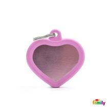 My Family identifikacijski obesek aluminij in guma, roza srček - GRAVIRANJE GRATIS!