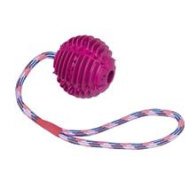 Nobby gumi žoga z vrvjo, vijola - 7,5 cm/30 cm