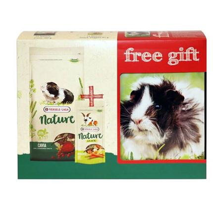 Versele Laga darilno pakiranje za morske prašičke - Nature Cuni 700 g + Snack Veggies 85 g + Gift Box