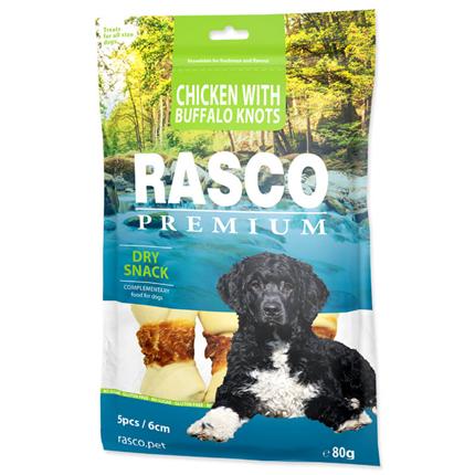 Rasco Premium posladek goveja koža s piščancem, kost z vozli, 5 kos - 6 cm