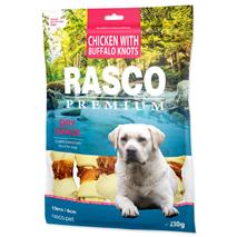 Rasco Premium posladek goveja koža s piščancem, kost z vozli, 15 kos - 6 cm