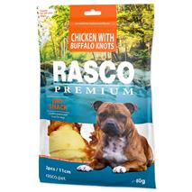 Rasco Premium posladek goveja koža s piščancem, kost z vozli, 2 kos - 11 cm