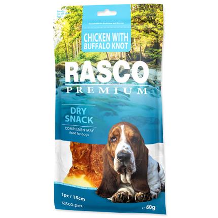 Rasco Premium posladek goveja koža s piščancem, kost z vozli, 1 kos - 15 cm