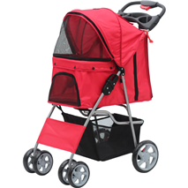 Pawise voziček za pse, rdeč - 68 x 46 x 100 cm