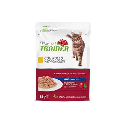 2x Natural Trainer Cat Adult, vrečka - piščanec - 85 g