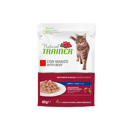 Natural Trainer Cat Adult, vrečka - govedina - 85 g