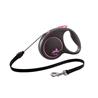 Flexi povodec Black Design M, vrvica - 5 m (različne barve) roza