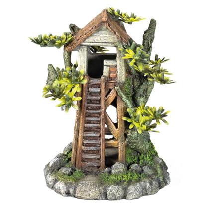 Nobby dekor drevesna hiša z rastlinami - 12,2 x 9,2 x 15,5 cm
