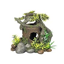 Nobby dekor skrivališče les in rastline - 18 x 15 x 15 cm