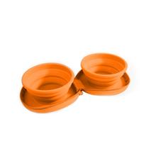 All For Paws zložljiva dvojna posoda, oranžna