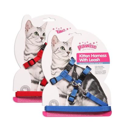 Pawise oprsnica s povodcem za mačke, rdeča/modra - 18-30 cm