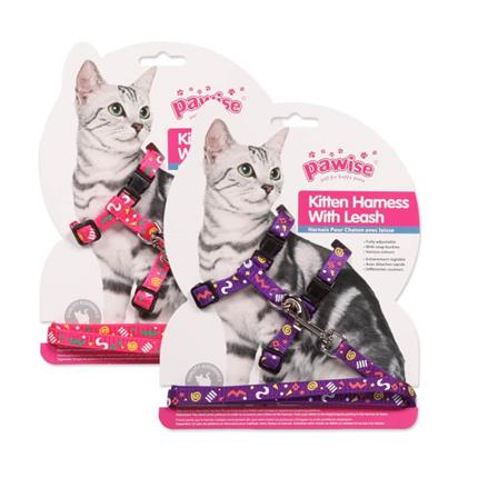 Pawise oprsnica s povodcem za mačke, roza/vijolična