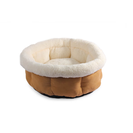 All For Paws Cuddle Lamb okroglo ležišče, sv. rjava - 45 x 45 x 22 cm