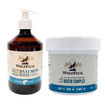 WolfPack paket - lososovo olje 500 ml + Biotin Complex peleti 400 g