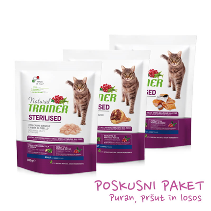 Trainer Natural Cat poskusni paket za sterilizirane mačke - puran, pršut, losos - 3 x 300 g