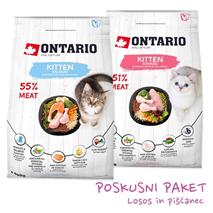 Ontario Kitten poskusni paket za mladičke - piščanec, losos - 2 x 400 g